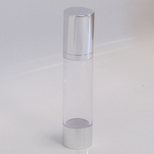 Clear & Silver Chrome 50ml With Cap - Airless Serum Bottles