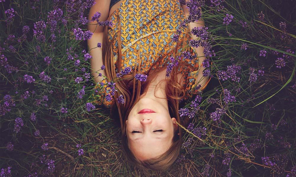 sleeping in lavender field